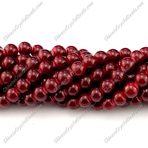 8mm round glass beads strand, dark red, 100pcs per strand