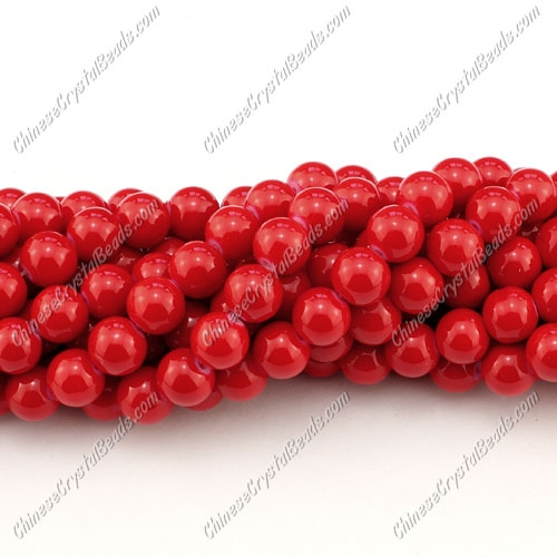 8mm round glass beads strand, red, 100pcs per strand
