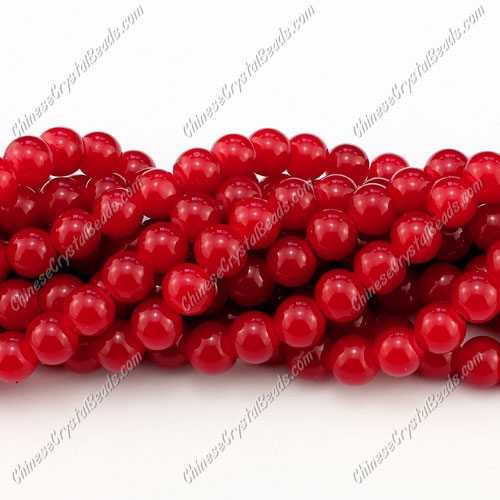 8mm round glass beads strand, red jade, 100pcs per strand