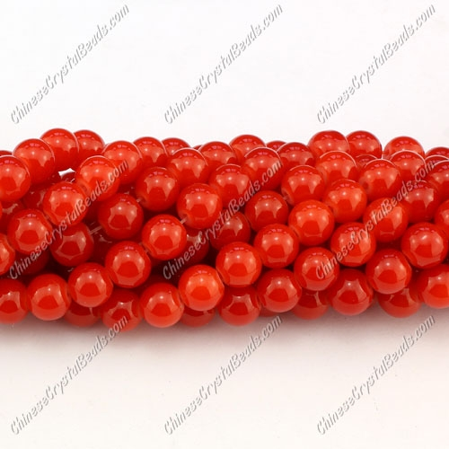 8mm round glass beads strand, light red jade, 100pcs per strand