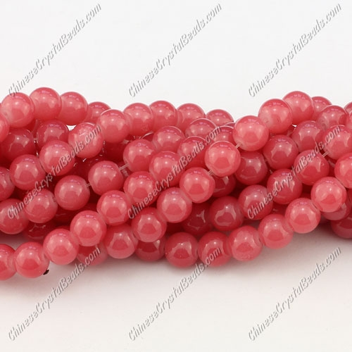 8mm round glass beads strand, Cerise, 100pcs per strand