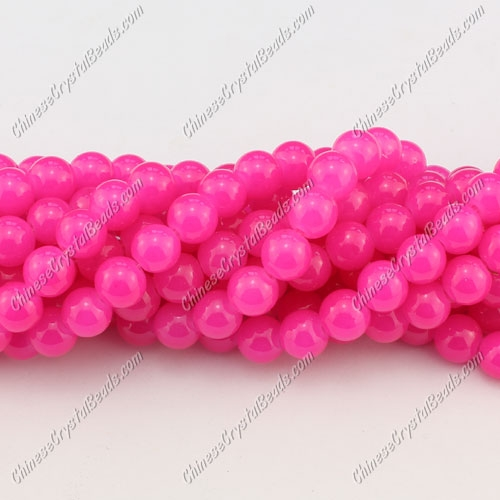 8mm round glass beads strand, neon color fuchsia, 100pcs per strand