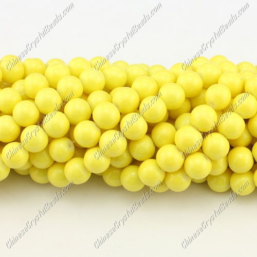 8mm round glass beads strand, yellow, 100pcs per strand