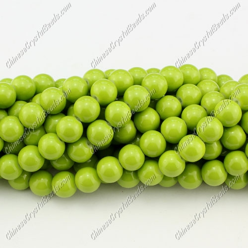 8mm round glass beads strand, Olive green, 100pcs per strand