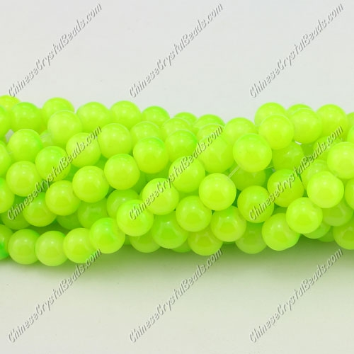 8mm round glass beads strand, neon green, 100pcs per strand