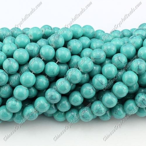 8mm round glass beads strand, Turquoise, 100pcs per strand