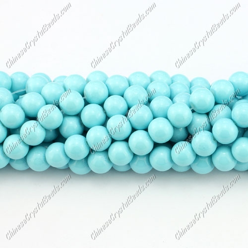 8mm round glass beads strand, aqua, 100pcs per strand