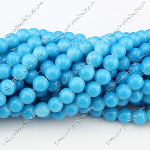 8mm round glass beads strand, Deep Sky Blue, 100pcs per strand