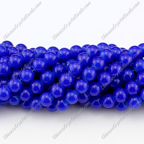 8mm round glass beads strand, Navy Blue, 100pcs per strand