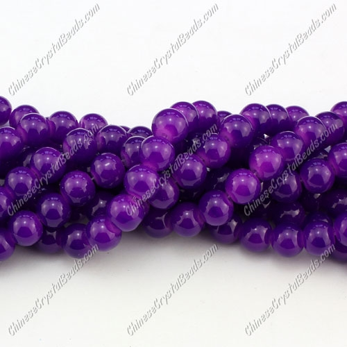 8mm round glass beads strand, purple, 100pcs per strand