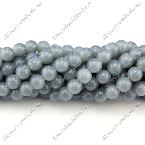 8mm round glass beads strand, gray, 100pcs per strand