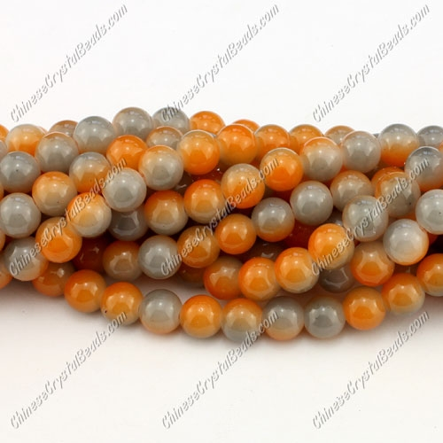 8mm round glass beads strand, gray and yellow, 100pcs per strand