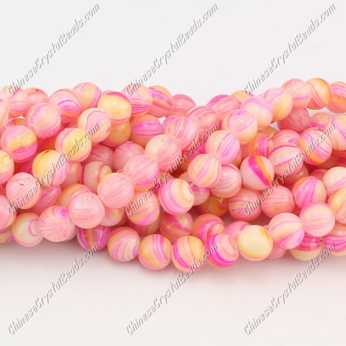 8mm round glass beads strand, gpainting of european style pink, 100pcs per strand