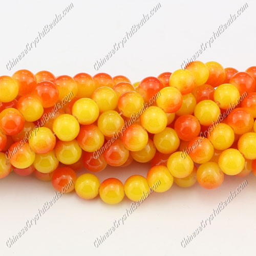 8mm round glass beads strand, yellow and orange, 100pcs per strand