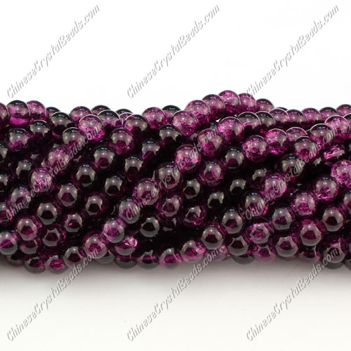 6mm round crackle glass beads strand, burst purple, 140pcs per strand