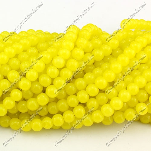 6mm round glass beads strand, yellow jade, 140pcs per strand