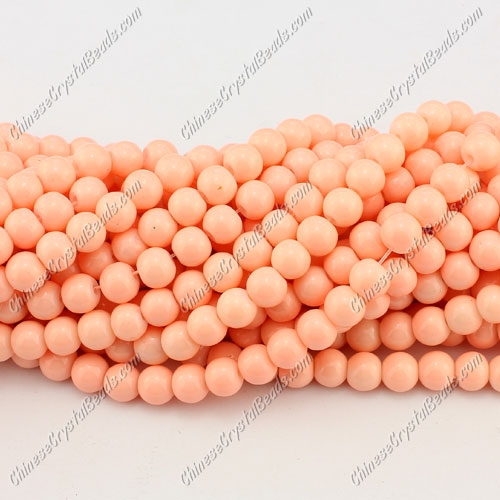 6mm round glass beads strand, peach, 140pcs per strand