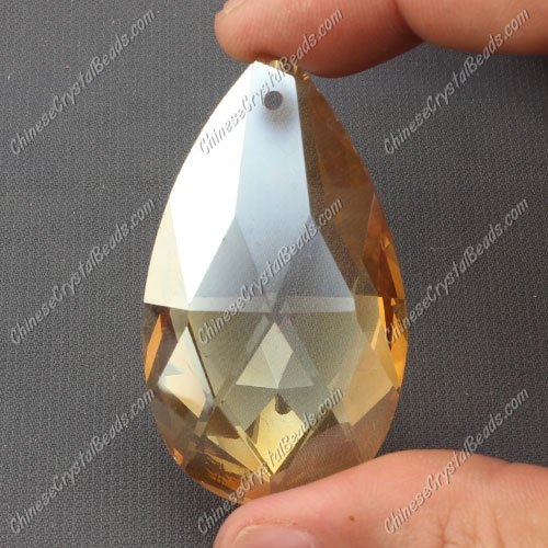 50x28mm Crystal Faceted Teardrop Pendant, gold show, hole: 1.5mm