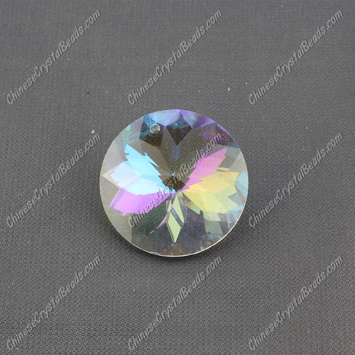 30mm Crystal round coin pendant, Clear AB, hole: 1.5mm