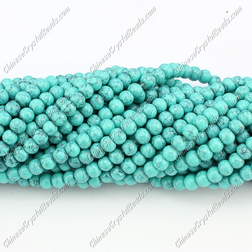 4mm round glass beads, Turquoise, about 200pcs per strand