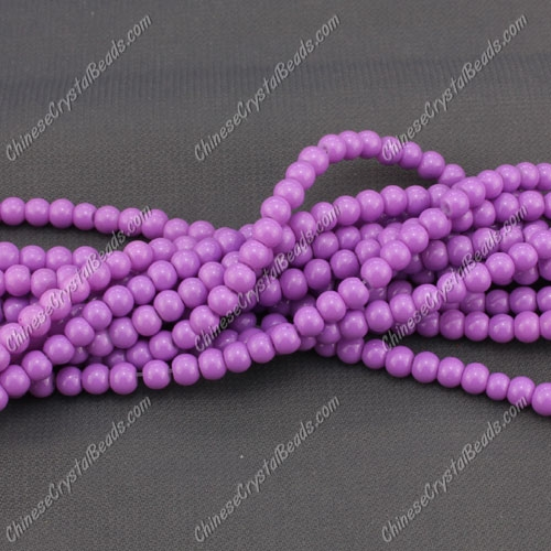 4mm round glass beads, Orchid, about 200pcs per strand