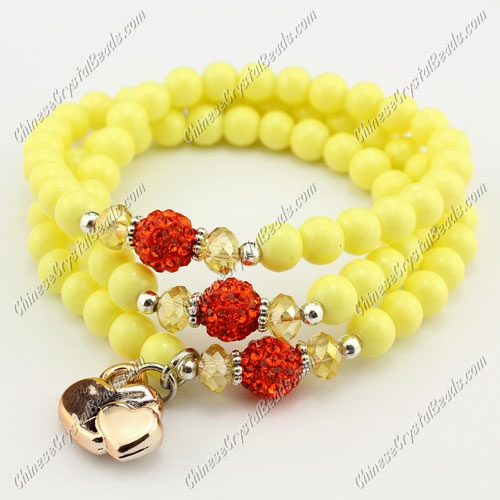 "Glass Beads stretch bracelet & Necklaces,6mm yellow beads, 21"" l"