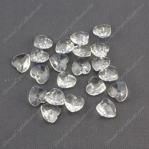 10mm crystal heart pendant, hole 1.5mm, Clear, sold per pkg of 10pcs