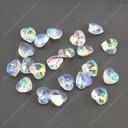 10mm crystal heart pendant, hole 1.5mm, Clear AB, sold per pkg of 10pcs