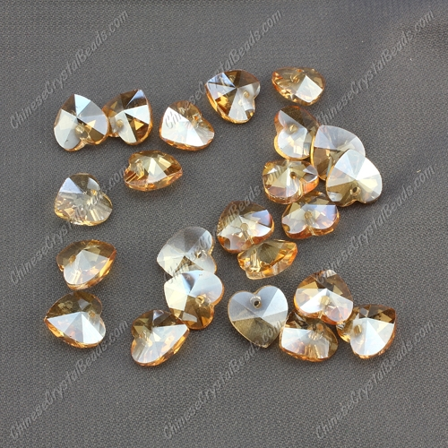 10mm crystal heart pendant, hole 1.5mm, golden shadow, sold per pkg of 10pcs