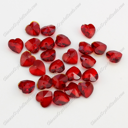 10mm crystal heart pendant, hole 1.5mm, red, sold 10pcs per bag