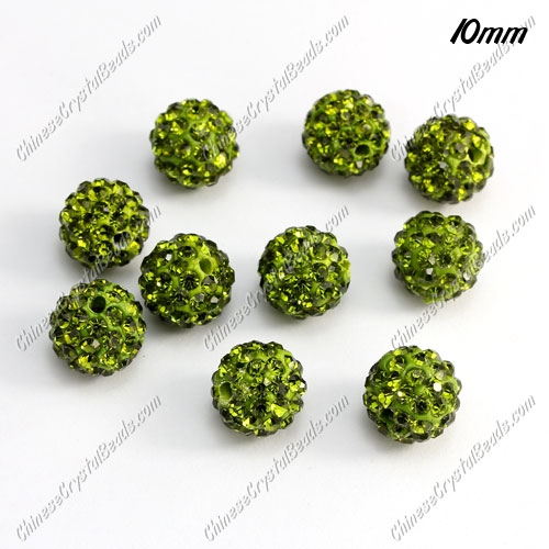 50pcs, 10mm pave clay disco beads, Olive green, hole: 1.5mm