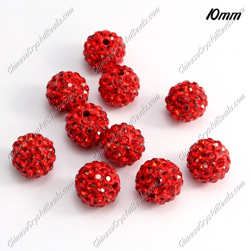 50pcs, 10mm pave clay disco beads, red, hole: 1.5mm
