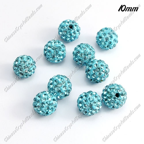 50pcs, 10mm Pave (clay) disco beads, aqua, hole: 1.5mm