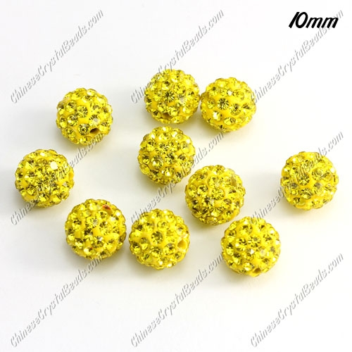 50pcs, 10mm Pave clay disco beads, yellow, hole: 1.5mm