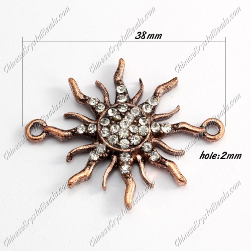 Charms Pave Rhinestone Antique Copper Sun, Bracelet Links Connectors Finding, 38mm, 1 pcs