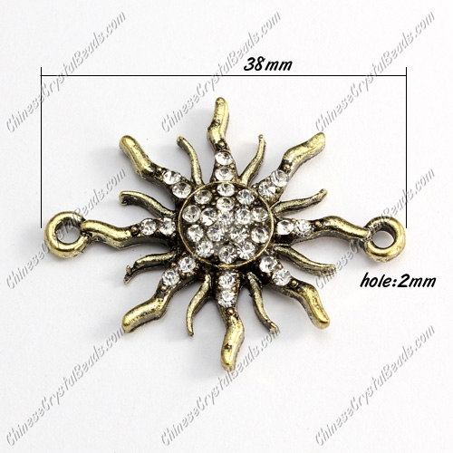Charms Pave Rhinestone Antique Bronze Sun, Bracelet Links Connectors Finding, 38mm, 1 pcs