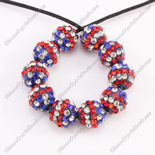 50pcs, Pave beads , clay, American flag 10mm, hole: 1.5mm