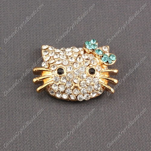 Pave Cat head pendant 20x27mm, gold plated, aqua Bow, sold 1pcs