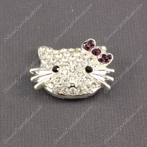 pave Cat head charms 20x27mm, hole: 2mm, violet, sold 1pcs
