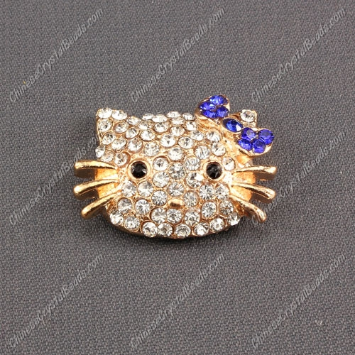Pave Cat head pendant 20x27mm, 2mm hole, gold plated, sapphire, sold 1pcs