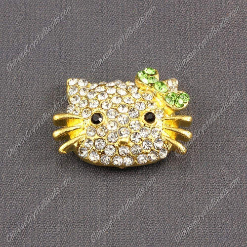 Pave Cat head pendant 20x27mm, 2mm hole, gold plated, green, sold 1pcs