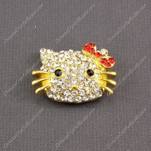 Pave Cat head pendant 20x27mm, gold plated, red, sold 1pcs