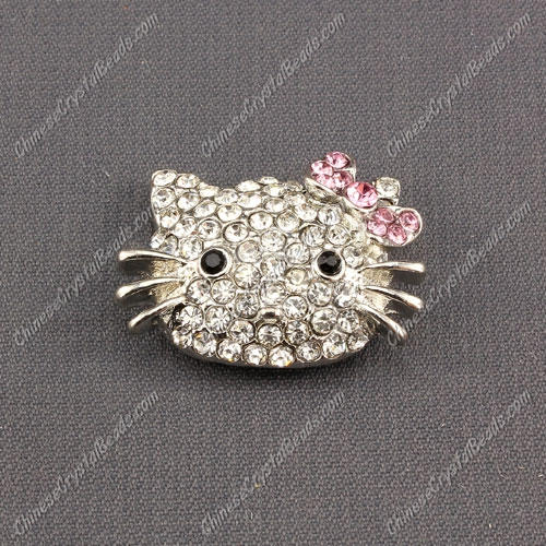 Pave Cat head pendant 20x27mm, pink, sold 1pcs