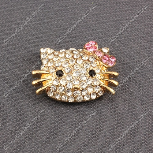Pave Cat head pendant 20x27mm, 2mm hole, rose gold plated, pink, sold 1pcs