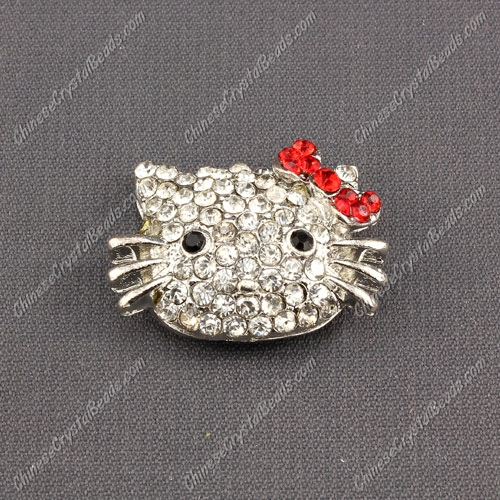 Pave Cat head pendant 20x27mm, red, sold 1pcs