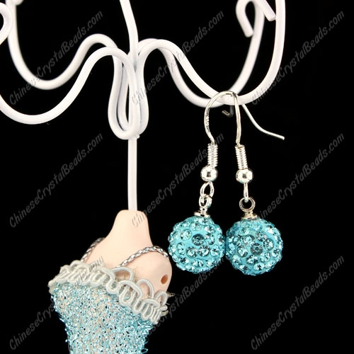 Pave Drop Earrings, aqua, 10mm clay disco beads, sold 1 pair