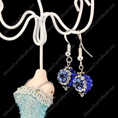 Pave Drop Earrings, 10mm evil eye pave beads, Sapphire, sold 1 pair