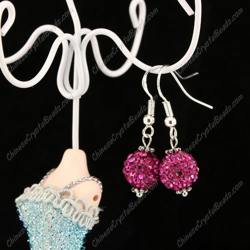 Pave Drop Earrings, fuchsia, 10mm clay disco beads, sold 1 pair