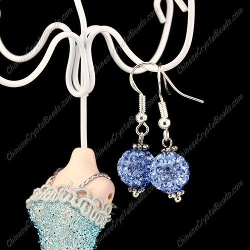 Pave Drop Earrings, lt. sapphire, 10mm clay disco beads, sold 1 pair