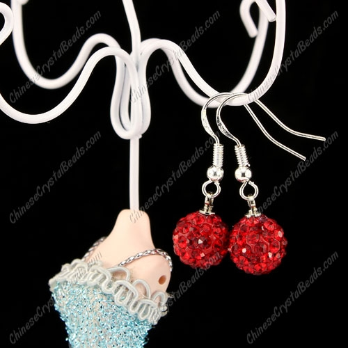Pave Drop Earrings, Red, 10mm clay disco beads, sold 1 pair